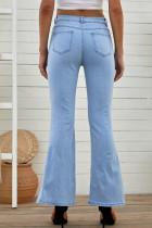 شلوار جین بلندی همبند اسپلیت آبی آبی پهن