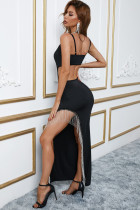Rhinestone Tassel Cut-out Side Slit Spaghetti Strap Maxi Dress