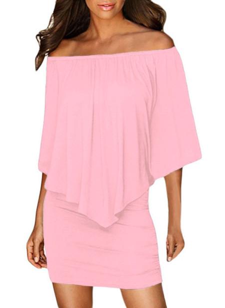 Vestido de poncho de color rosa en capas de aderezo múltiple