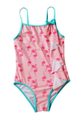 طفل الفتيات فلامنغو طباعة ملابس السباحة قطعة واحدة