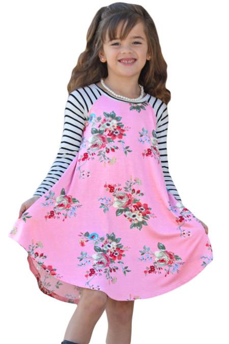 الوردي الربيع قذف الأزهار مخطط كم فستان قصير للأطفال