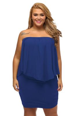 Tallas grandes, vestido de poncho azul en capas, vestidor múltiple