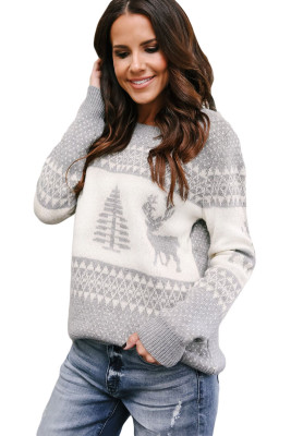 Suéter Reno Gris Blanco y Árbol De Navidad