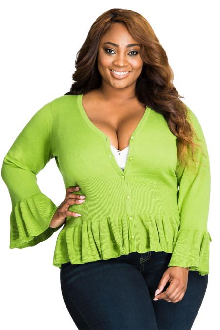 Rebeca con dobladillo verde con cuello en V y talla grande