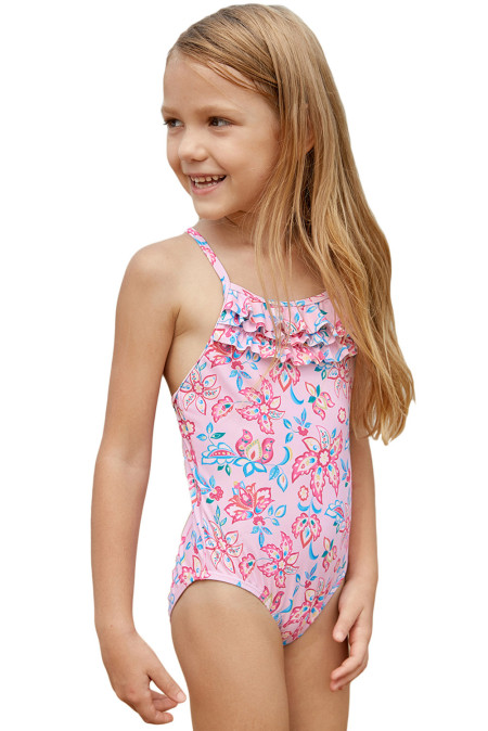 الأزرق الوردي متعدد الطبقات الكشكشة طفل الفتيات Maillot