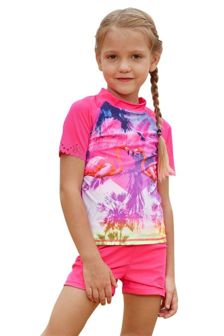 الفتيات شاطئ يوم قميص مريح ومجموعة قصيرة