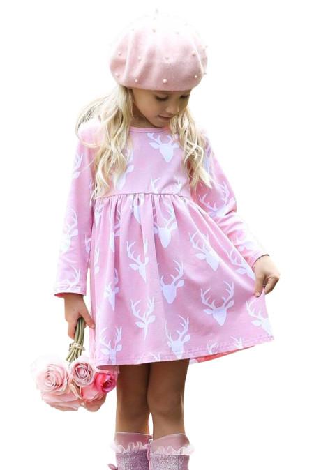 الوردي عيد الميلاد الغزلان طباعة فستان طويل الأكمام فتاة