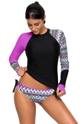 التباين الأرجواني التفاصيل طويلة الأكمام ملابس السباحة Tankini