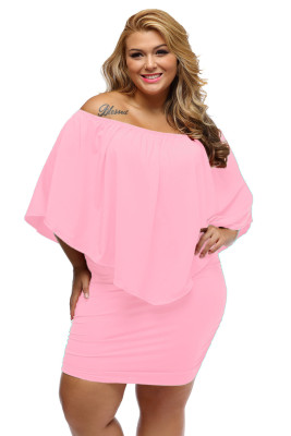 Talla grande, vestido múltiple, poncho rosa, mini vestido