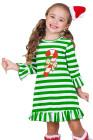 حلوى قصب اللكنة أخضر أبيض مقلم فستان عيد الميلاد
