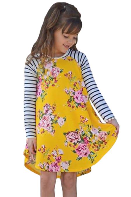 الربيع الأصفر قذف الأزهار مخطط كم فستان قصير للأطفال