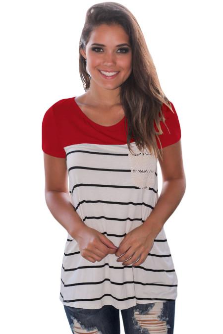 Camiseta de manga corta con rayas rojas de Splice