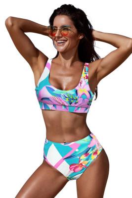 Bikini tropical de cintura alta con escote en U de color rosa