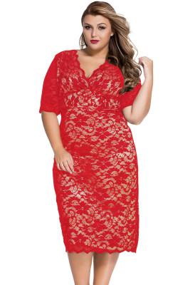 Vestido a media pierna de encaje con cuello en V y manga corta, talla roja