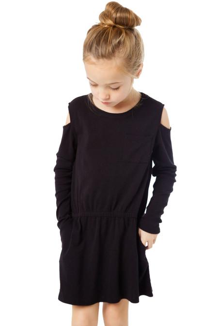 فتاة سوداء طويلة الأكمام الباردة اللباس الكتف