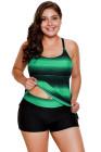 Tiras verdosas Hollow-out Back Plus Size Tankini