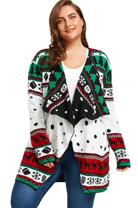 أبيض عيد الميلاد Snowland ترتيب الأسرة ذوي الياقات البيضاء سترة عيد الميلاد