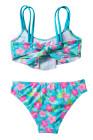 الفتيات كشكش زهرة طباعة اثنين من قطعة ملابس السباحة مجموعة