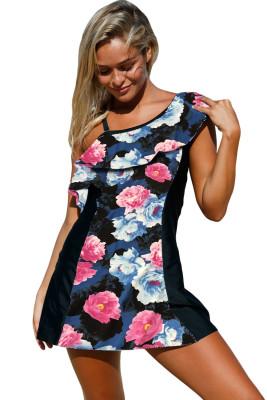 أنيقة طباعة الأزهار 1pc ثوب السباحة مع السراويل