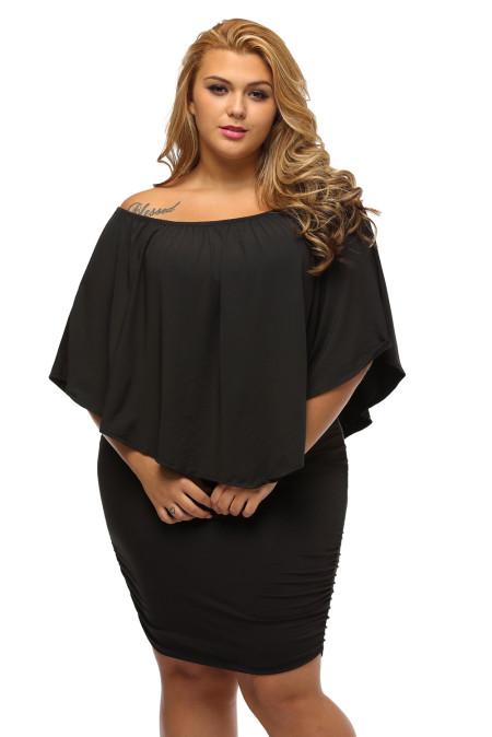 Talla grande, vestido múltiple, poncho, mini vestido negro