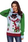 بارد ثلج عيد الميلاد البلوز مع الأكمام الخضراء