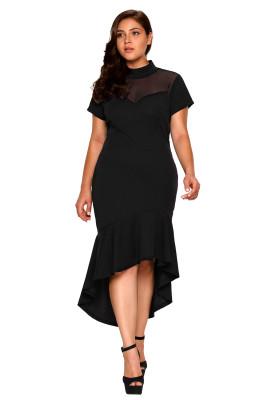 Vestido de malla negro con volantes hola-bajo dobladillo con curvas vestido