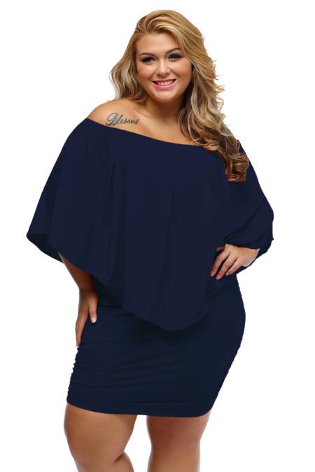 Talla grande Vestido de poncho mini azul oscuro en capas de aderezo