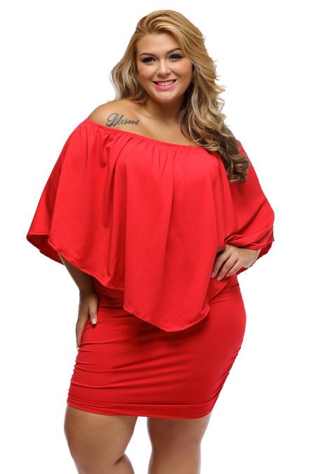 Talla grande vestido de poncho mini en capas de aderezo múltiple