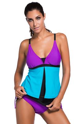 الأرجواني الأزرق Colorblock Tankini أسفل ملابس السباحة