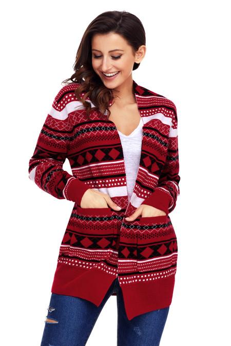 أحمر أبيض أسود هندسي متماسكة عيد الميلاد كارديجان