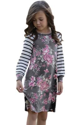 رمادي الربيع قذف الأزهار مخطط كم فستان قصير للأطفال