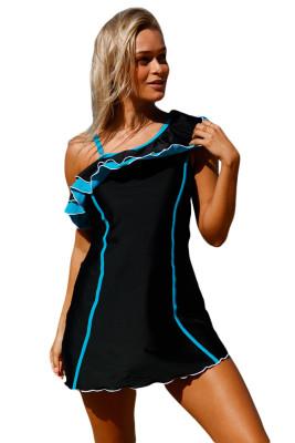 أسود أزرق كشكش 1pc ثوب السباحة مع السراويل