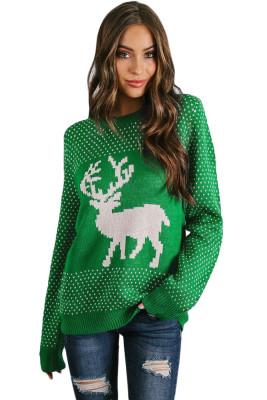 Snowy Day Reno verde suéter de Navidad