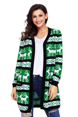Rebeca de Navidad geométrica reno verde negro