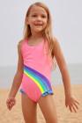 لطيف قوس قزح تريم الوردي طفل الفتيات ملابس السباحة قطعة واحدة