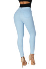 أزرق فاتح العصرية الشق الركبة الدينيم السراويل