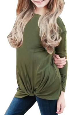 الجيش الأخضر تويست عقدة تفاصيل فتاة طويلة الأكمام الأعلى