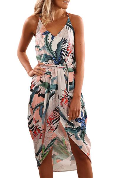 السماء الزرقاء العميق الخامس الرقبة الصيف فستان زهري طباعة