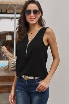 Camisa negra sin mangas con escote y cremallera sin mangas