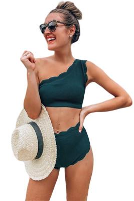 Bikini De Un Hombro Con Cintura Alta Verde festoneado