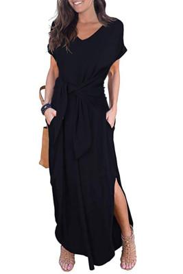أسود عارضة فضفاض جيب كم قصير سبليت فستان ماكسي