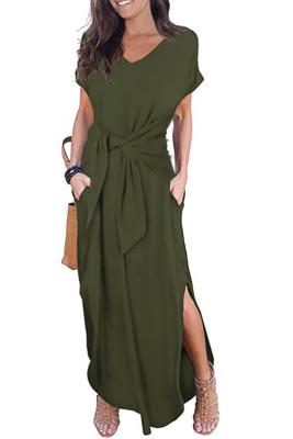 الأخضر عارضة فضفاض جيب كم قصير سبليت فستان ماكسي