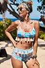 Tropischer Multicolor-Bikini mit Quaste und hoher Taille
