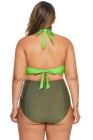 Green Allure Juniors Plus Size Laser Cut Flounce traje de baño