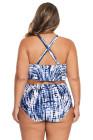 Tallas grandes con tiras en azul Cintura alta trajes de baño