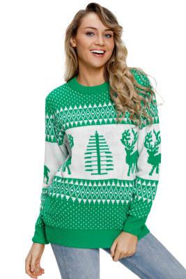 Suéter verde reno blanco y árbol de navidad