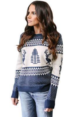 Suéter Reno Blanco Navideño y Árbol De Navidad