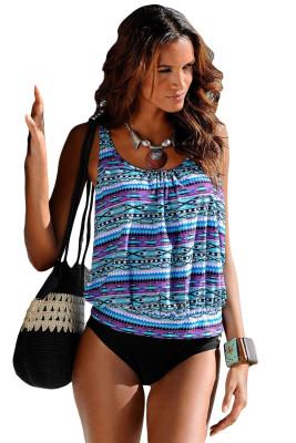 القبلية شاطئ العرقية طباعة 2pcs Tankini ملابس السباحة