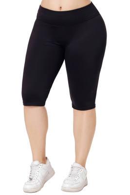 Longitud de la rodilla negra pantalones deportivos de talla grande