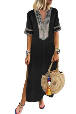 أسود البوهيمي الأزهار طباعة سبليت فستان ماكسي